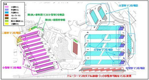 20191225nexco 520x279 - 新東名/静岡SA・浜松SAにダブル連結トラック対応駐車マス