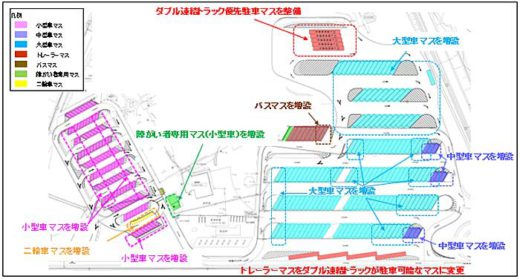 20191225nexco1 520x279 - 新東名/静岡SA・浜松SAにダブル連結トラック対応駐車マス
