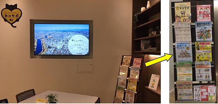 ネコサポステーション内の松戸市発信コーナー モニターとラックに設置したパンフレットで地域情報・防犯情報を発信