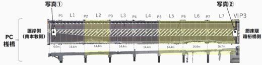 橋桁撤去箇所図
