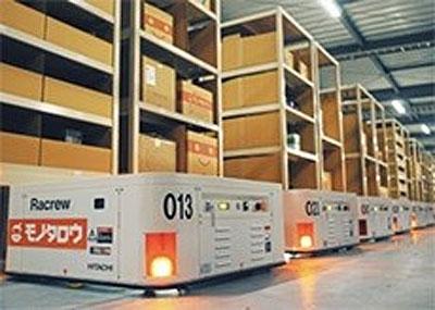 20200825hitachi - 日立製作所/MonotaROの物流倉庫に小型無人搬送ロボット導入