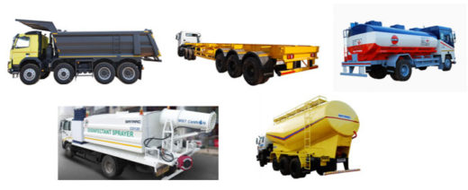 SATRAC社 主要製品群(上段左からダンプトラック、トレーラ、タンクローリ下段左から除菌散布スプレー車、粉粒体運搬車)
