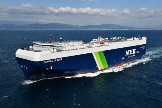 20201028nyk 520x346 - 日本郵船/LNG燃料自動車船「SAKURA LEADER」が竣工