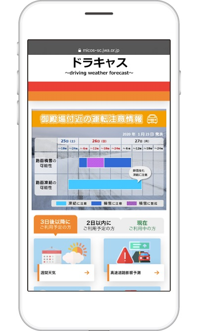 20201120kisyou - 日本気象協会/高速道路の気象・交通情報サービスサイト開設