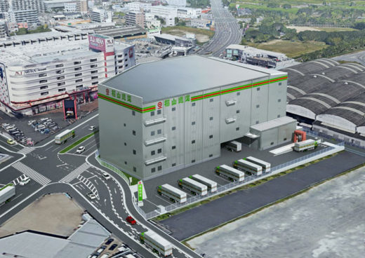 「福岡支店倉庫・整備工場(仮称)」の完成イメージ