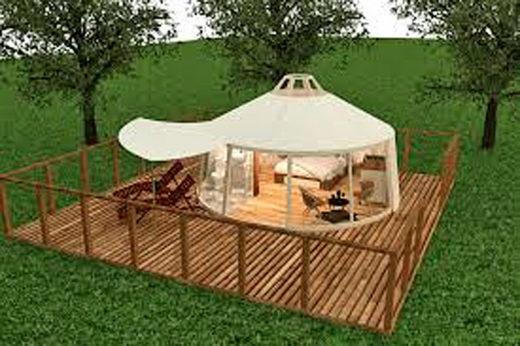 総重量約600kgある常設別荘型ゲルテントの設置イメージ図