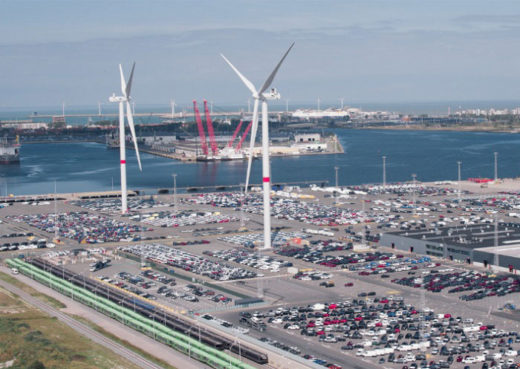 20210215nyk 520x369 - 日本郵船/完成車ターミナルで風力発電タービン11基稼働