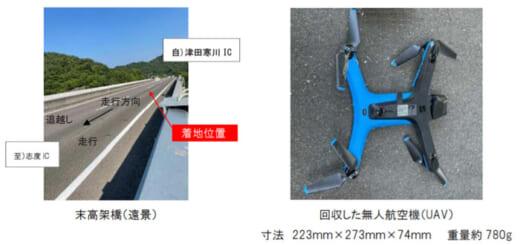 20210730nexcow 520x245 - NEXCO西日本/高松自動車道で橋梁点検中のUAVが本線路面に着地